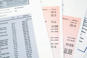 Pile of Bank statement and credit card statements